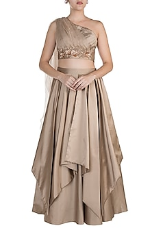 Light Brown Floral Embroidered Drape Lehenga Set by Shivangi Jain