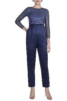 Blue Embroidered Jumpsuit by Shivangi Jain