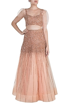 Rose Gold Hand Embroidered Lehenga Skirt With Blouse by Shivangi Jain