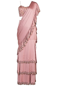 Rose Gold Pink Hand Embroidered Ruffled Saree Set by Shivangi Jain