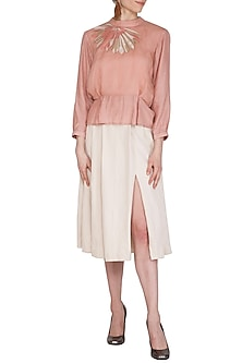 Peach Embroidered Pleated Top by Shiori