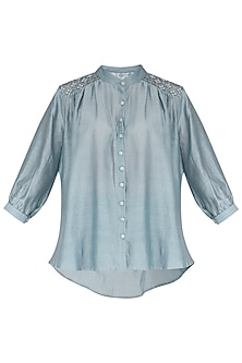 Powder Blue Embroidered Shirt by Shiori