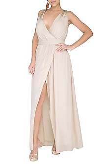 Ivory Embroidered Wrap Gown by Shiori