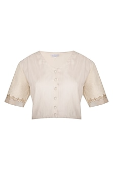 Ivory Embroidered & Pleated Crop Top by Shiori