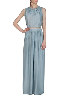 Powder Blue Embroidered Top by Shiori