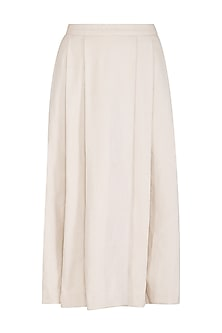 Ivory Pleated Slit Skirt by Shiori