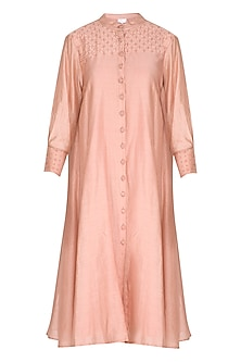Peach Embroidered Shirt Dress by Shiori