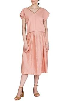 Peach Pleated Skirt by Shiori