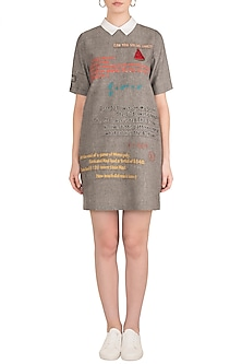 Grey Embroidered Mini Dress by Shahin Mannan