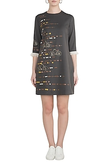 Dark Grey Embroidered Tic-Tac Bicycle Mini Dress by Shahin Mannan