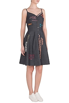 Black Embroidered Spaghetti Straps Mini Dress by Shahin Mannan