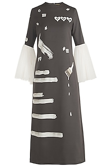 Grey Embroidered Midi Dress by Shahin Mannan