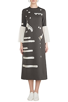 Grey Embroidered Midi Dress by Shahin Mannan