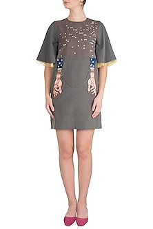 Grey Silk Thread Embroidered Mini Dress by Shahin Mannan