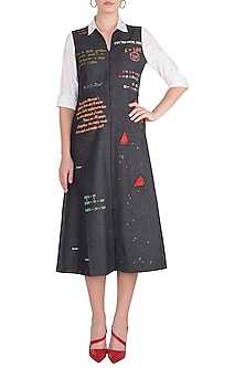 Dark Grey Embroidered Front Open Dress by Shahin Mannan