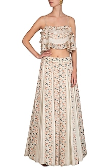 Sandstone Block Printed Spaghetti Blouse With Pleated Skirt by Show Shaa