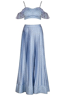 Blue Checkered Embroidered Crop Top With Printed Pleated Skirt by Show Shaa