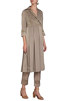 Mocha Brown Embroidered Pleated Tunic With Pants by Show Shaa