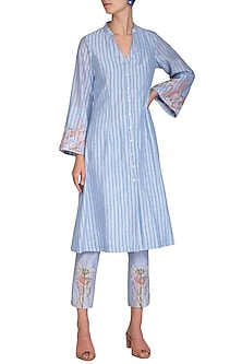 Blue Block Printed Striped & Embroidered Tunic With Pencil Pants by Show Shaa
