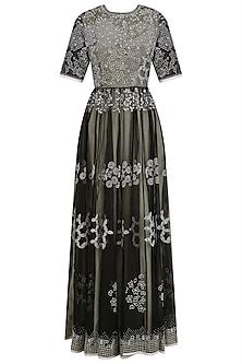 Black and White Organza Long Maxi Dress by Shasha Gaba