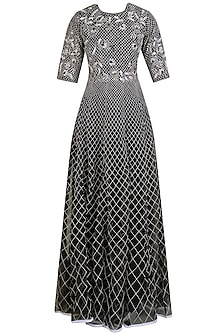 Black and White Applique Work Long Maxi Dress by Shasha Gaba
