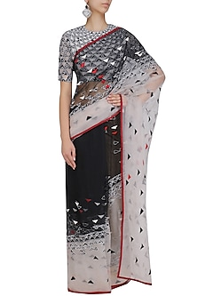 White, Black and Red Triangular Motifs Saree and Blouse Set by Shasha Gaba