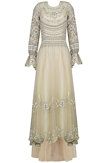 Nude Lakhnavi Embroidered Dress