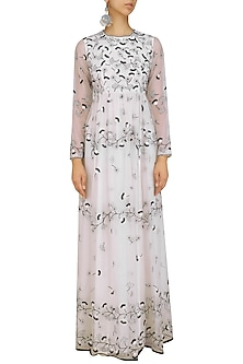 White and Black Embroidered Long Maxi Dress by Shasha Gaba