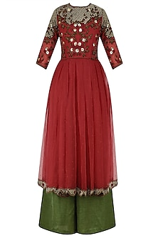 Rose Red Embroidered Kurta with Olive Green Palazzo Pants