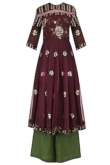 Wine Rose Motifs Tunic with Green Palazzo Pants
