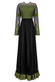 Black and Olive Green Pleated Yoke Dress by Shasha Gaba