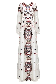 White Valentine Floral Embroidered Dress