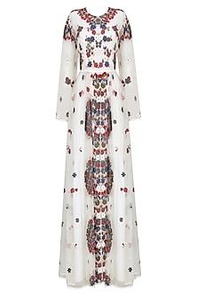 White Valentine Floral Embroidered Dress by Shasha Gaba