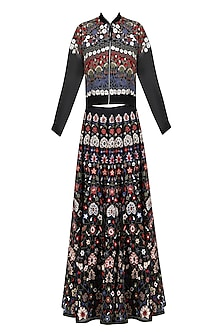 Black Floral Embroidered Bomber Jacket and Lehenga Skirt Set by Shasha Gaba