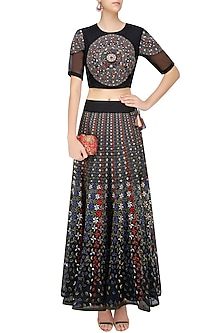 Black Floral Embroidered Crop Top and Lehenga Skirt Set by Shasha Gaba