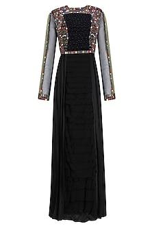 Black Resham Embroidered Long Dress by Shasha Gaba