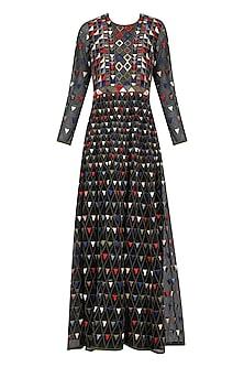Black Traingular Pattern Embroidered Dress by Shasha Gaba