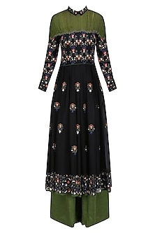 Black Floral Embroidered Dress with Olive Green Palazzo Pants by Shasha Gaba