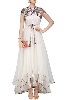 White Geometric Pattern Embroidered High Low Trail Cut Dress by Shasha Gaba