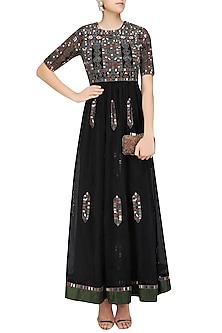 Black Geometric Pattern Glass Beads Embroidered Dress by Shasha Gaba