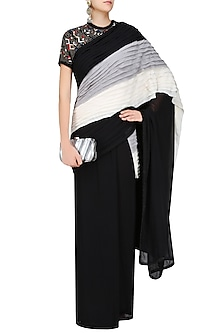 Black, Grey and White Pleated Saree with Embroidered Cape Blouse by Shasha Gaba
