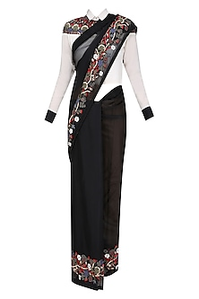 Black Floral Embroidered Saree with White Shirt Blouse by Shasha Gaba