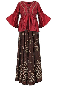 Brown Embroidered Lehenga with Red Kaftan Style Blouse