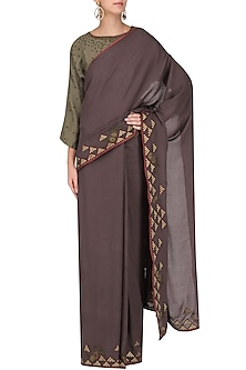 Grey Embroidered Saree with Olive Green Blouse by Shasha Gaba