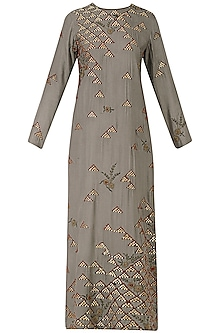 Grey Embroidered Long Kurta and Pants