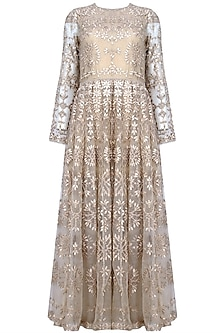 Nude Tonal Floral Thread And Sequins Embroidered Valentine Dress