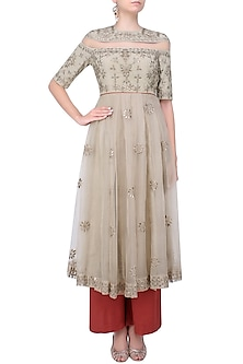 Grey Tonal Floral Thread And Sequins Embroidered Peplum Anarkali And Red Pants Set by Shasha Gaba