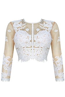 Nude And Ecru Floral Applique Work Crop Top And Skirt Set by Shasha Gaba
