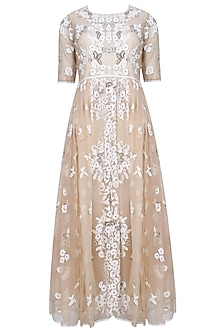 Nude And Ecru Floral 3D Embroidered Motifs Flared Dress