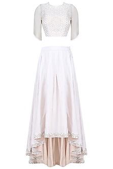 Ecru Resham Embroidered Crop Top And High Low Skirt Set by Shasha Gaba
